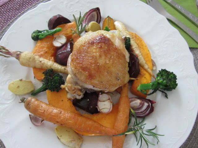Pečena zelenjava s piščancem