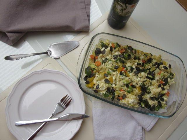 Zelenjavni narastek s proseno kašo, skuto in sirom