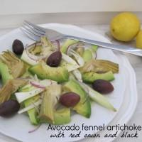 Solata iz koromača, avokada, oliv in artičok