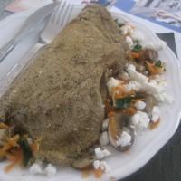 Slane palačinke (brez jajc) s šampinjoni in slanim ovčjim sirom