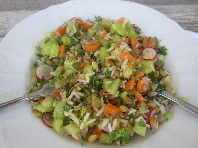 Zelenjava, riž in leča