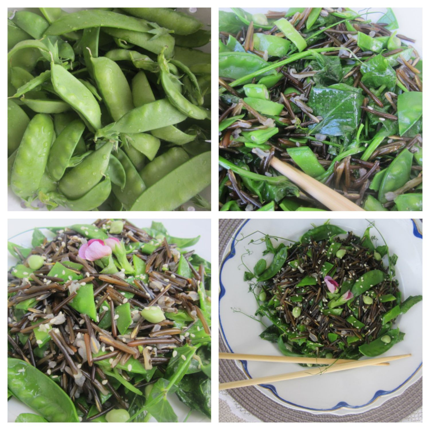 wild rice with snow peas