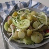 Topla solata z mladim krompirjem, kumarami, koromačem in redkvicami