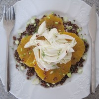 Solata iz rdeče kvinoje, sočne pomaranče in hrustljavega koromača