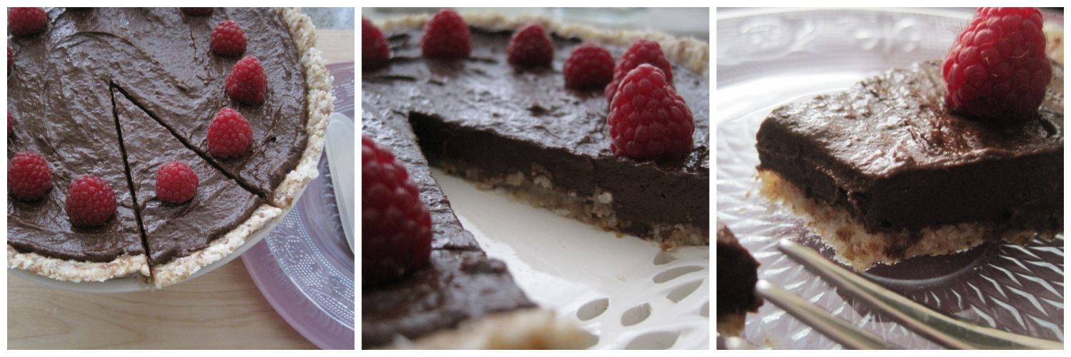 raw chocolate avocado tart