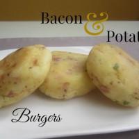 Krompirjevi burgerji s slanino, drobnjakom in polnozrnato gorčico