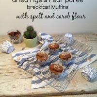 Pirini muffini z rožičevo moko,  hruškovo čežano in suhimi figami