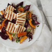 Kvinoja, pečena zelenjava in sir za žar