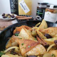 Piščanec po maroško s koromačem, olivami in vloženimi limonami